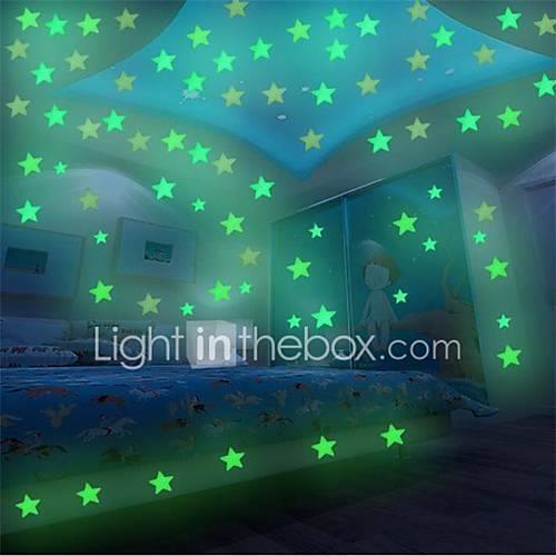 Image of 100Pcs 3D Stars Glow In Dark Luminous Fluorescent Plastic Wall Sticker Home Decor Decal Wallpaper Decorative Special Festivel