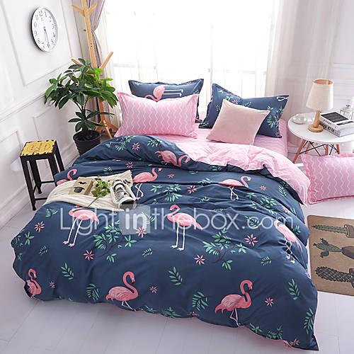Duvet Cover Sets Cartoon 4 Piece 100% Cotton Reactive Print 100% Cotton 4pcs (1 Duvet Cover, 1 Flat Sheet, 2 Shams) (If Twin size, only 1
