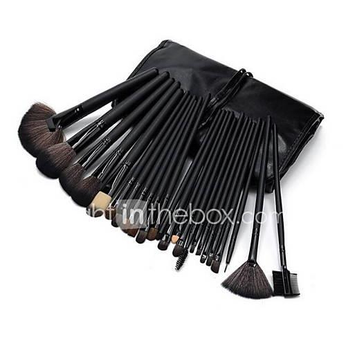 MAKE-UP FOR YOU 32pcs Professional Cosmetic Black Rod Makeup Brushes Set Kit with Black Bag