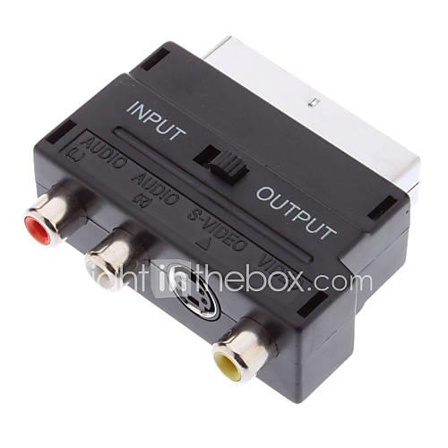 YongWei Scart 21-Pin Male to S-Video  3 RCA Female Adapter Black