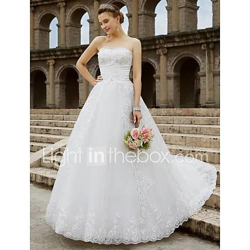 Ball Gown Strapless Chapel Train Tulle / Glitter Lace Made-To-Measure Wedding Dresses with Beading / Bow(s) by LAN TING BRIDE