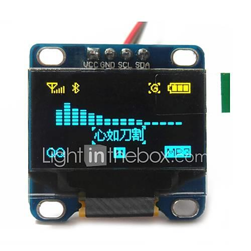 "Image of 0.96"" Inch Yellow and Blue I2c IIC Serial 128x64 Oled LCD Oled LED Module for Arduino Display 51 Msp420 Stim32 SCR"