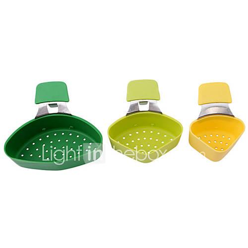 3Pcs/ Set Steam Basket Hanging Type Silicone Plastic Food Steamer Microwave Cooking Kitchenware