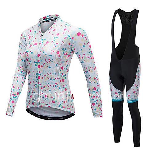 Malciklo Women's Long Sleeves Cycling Jersey with Bib Tights - White Black Bike Clothing Suits, Thermal / Warm, Quick Dry, Anatomic