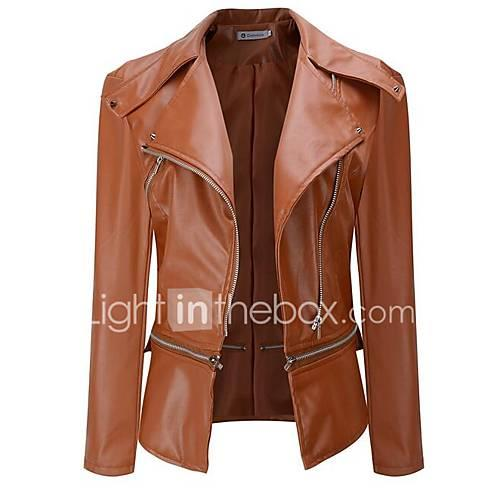 Women's Street chic Leather Jacket-Solid Colored,Pleated Peter Pan Collar