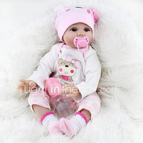 """NPK DOLL Reborn Doll Baby 22"""" Silicone Vinyl Newborn lifelike Cute Child Safe Tipped and Sealed Nails Artificial Implantation Blue Eyes"""