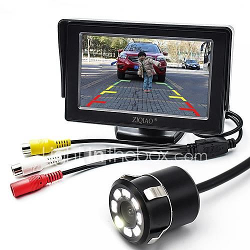 ZIQIAO 4.3 Inch Monitor and 8LED CCD HD Car Rear View Camera
