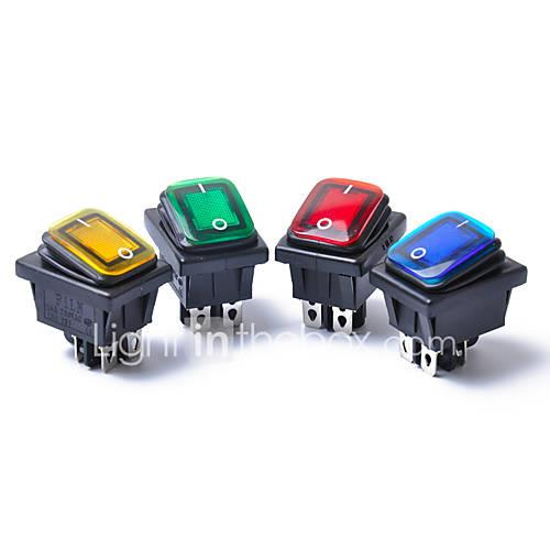 4PCS 12V 15A 4Pin Waterproof Rocker Switch With Lamp Light Dpst DPST Car Boat