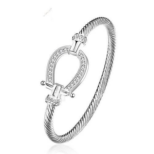 Women's Bangles Cubic Zirconia Fashion Gold Plated Geometric Jewelry Gift Daily Costume Jewelry