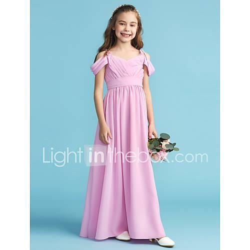 A-Line / Princess Off Shoulder Floor Length Chiffon Junior Bridesmaid Dress with Sash / Ribbon / Pleats by LAN TING BRIDE