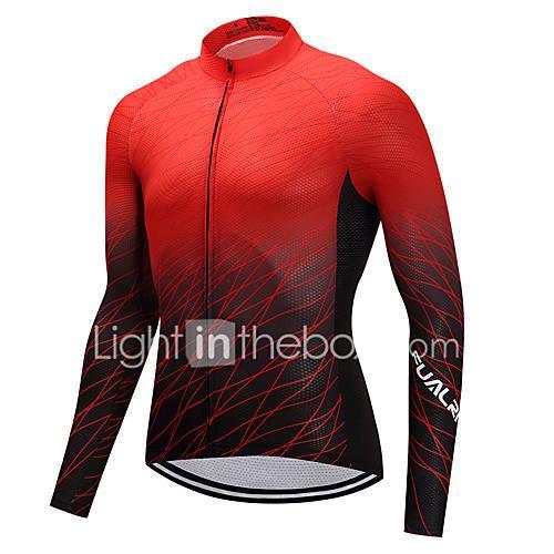 FUALRNY Men's Long Sleeve Cycling Jersey - Black / Red Gradient Bike Jersey, High Elasticity, Winter
