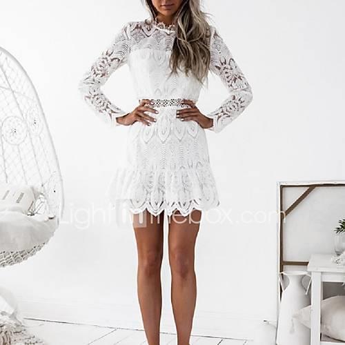 Women's Club Flare Sleeve Sheath Dress - Jacquard White, Lace