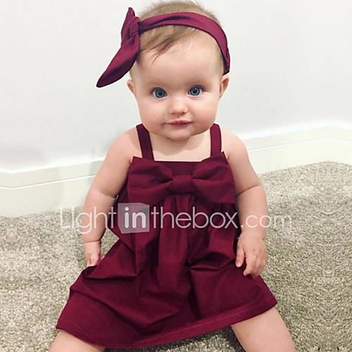 Baby Girl's Daily Solid Dress, Cotton Linen Bamboo Fiber Acrylic Spring Simple Sleeveless Red