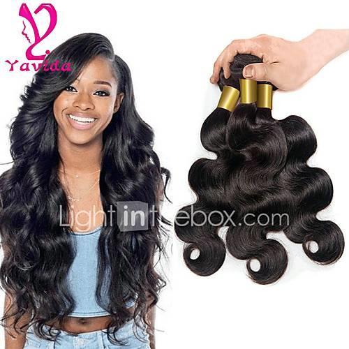 3 Bundles Brazilian Hair Body Wave Virgin Human Hair Natural Black Human Hair Weaves / Human Hair Extensions 8-28 inch 150g For Black Women / 8a / Shedding Free Natural Color Human Hair