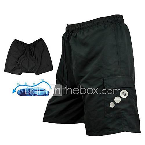 SANTIC Men's Cycling Padded Shorts - Black Solid Color Bike Baggy Shorts MTB Shorts Bottoms, 3D Pad Quick Dry Breathable / Advanced Sewing Techniques