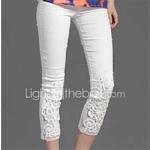 Women's Maternity Cotton Skinny Jeans Pants - Lace Jacquard