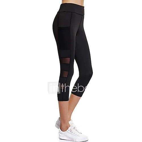 Women's Pocket Yoga Pants Sports Fashion Mesh High Rise 3/4 Tights / Leggings Exercise  Fitness, Running, Gym Activewear Fast Dry, Breathable, Tummy Control Stretchy