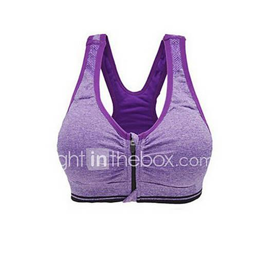 Racerback Front Zipper Sports Bra No Padded Medium Support for Yoga / Running - Red / Green / Blue Quick Dry, Breathable, Compression Women's Polyester, Elastane / Stretchy / Sweat-wicking