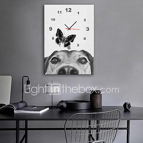 Modern Style Modern / Contemporary Canvas Cuboid Indoor,Battery Wall Clock