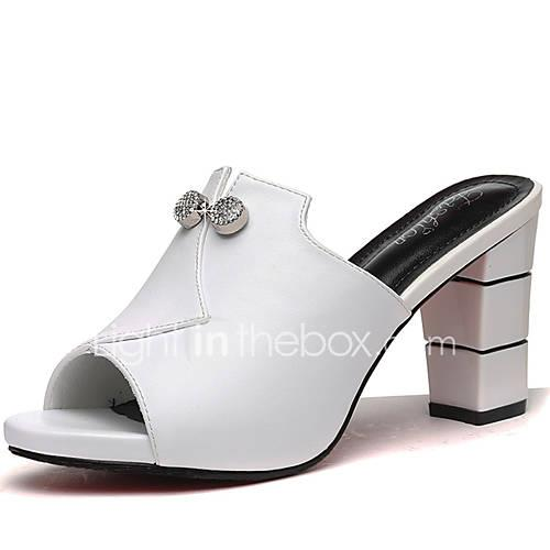 Women's Shoes Patent Leather Summer / Fall Gladiator / Basic Pump Slippers  Flip-Flops Chunky Heel White / Black