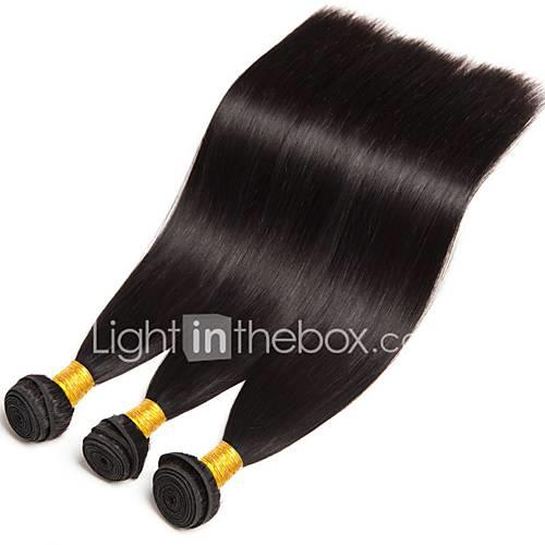 3 Bundles Brazilian Hair Straight Human Hair Human Hair Extensions 8-28 inch Human Hair Weaves Hot Sale / Shedding Free / Tangle Free Natural Color Human Hair Extensions Women's