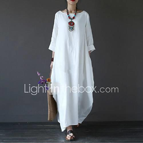 Women's Plus Size Holiday Cotton Loose Swing Dress - Solid Colored White Maxi / Spring / Summer