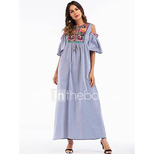 Women's Basic / Boho Cotton Loose Shift / Swing / Abaya Dress - Striped Embroidered Maxi / Spring / Summer / Embroidery