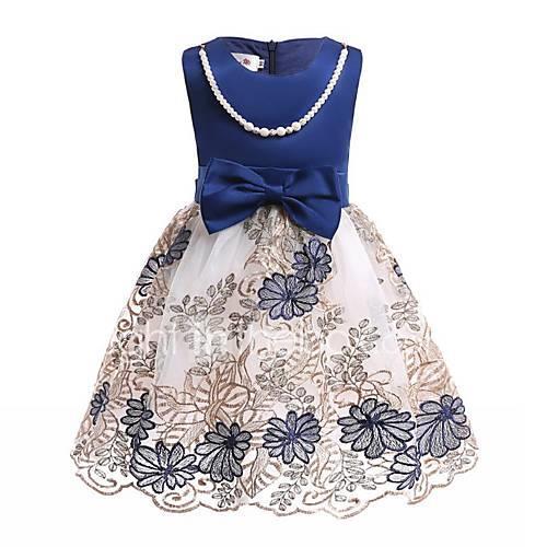 Kids Toddler Girls' Blue  White Print Sleeveless Dress