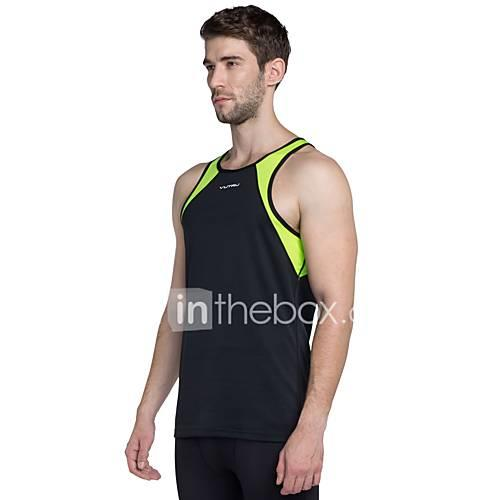 Men's Crew Neck Running Shirt - Black, Green Sports Tank Top Sleeveless Activewear Lightweight, Breathability Stretchy