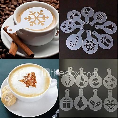 Plastic Creative Kitchen Gadget / Cappuccino / Milk Foam Christmas tree 8pcs Strainer / Maker