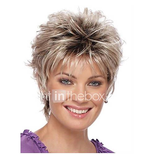 Ombre Straight Golden Pixie Cut Synthetic Hair Natural Hairline Golden / Burgundy Wig Women's Short Capless / Yes