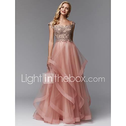 A-Line Off Shoulder Floor Length Lace / Tulle Prom / Formal Evening Dress with Beading / Cascading Ruffles by TS Couture