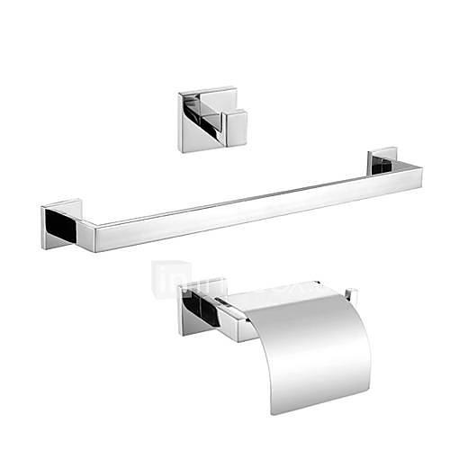 Bathroom Accessory Set Contemporary Stainless Steel 3pcs - Hotel bath Toilet Paper Holders / Robe Hook / tower bar