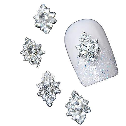 10pcs 3d clear rhinestone diamond flower diy accessories alloy nail art decoration