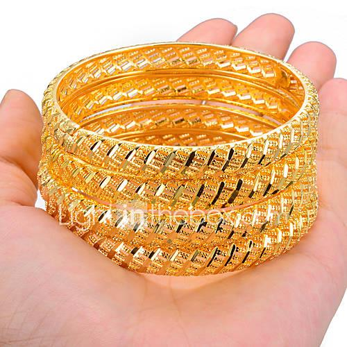 Women's Sculpture Bracelet Bangles / Cuff Bracelet - Gold Plated Ethnic Bracelet Gold / Yellow For Party / Gift / 4pcs