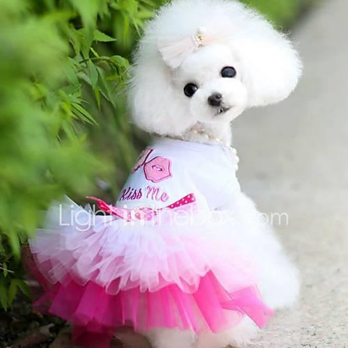 Dogs / Cats / Furry Small Pets Dress Dog Clothes Heart / Love / Lips Blue / Pink Cotton Jacquard / Cotton Costume For Pets Female Sports  Outdoors / DressesSkirts