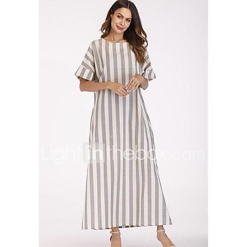 Women's Basic Tunic Dress - Striped Print