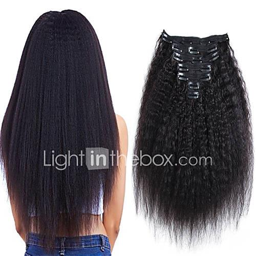 Clip In / On Human Hair Extensions kinky Straight Natural Black Human Hair Extensions Human Hair Brazilian Hair 7 pcs New Arrival / For Black Women Women's