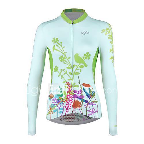 SPAKCT Women's Long Sleeve Cycling Jersey - Green Floral / Botanical Bike Jersey, Moisture Wicking, Autumn / Fall, Elastane / Stretchy / Quick Dry / Quick Dry / YKK Zipper / Race Fit