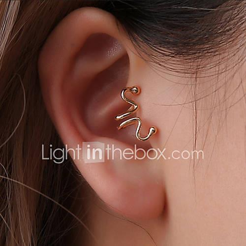 Women's Twisted Clip Earrings - Creative, Letter Simple, Korean, Fashion Gold / Black / Silver For Party / Evening / Gift / Club