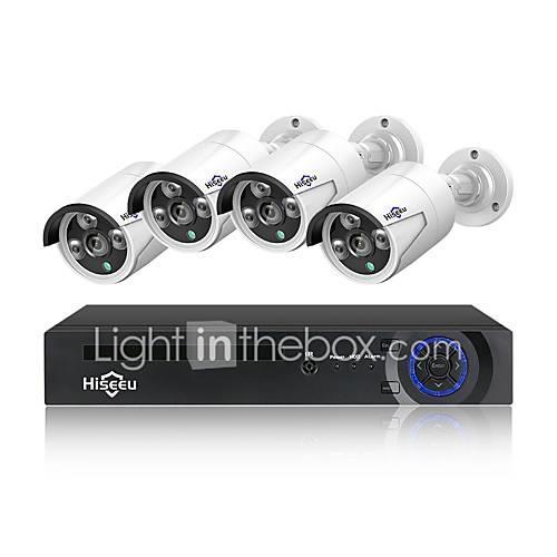 Hiseeu 4CH 1080P 48V POE NVR Kit CCTV System 2MP Outdoor IP66 Metal IP Camera waterproof P2P Home Security Surveillance Kit