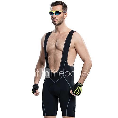 SANTIC Men's Cycling Bib Shorts - Black Bike Bib Shorts Padded Shorts/Chamois, Breathable, Sweat-wicking, 3D Pad