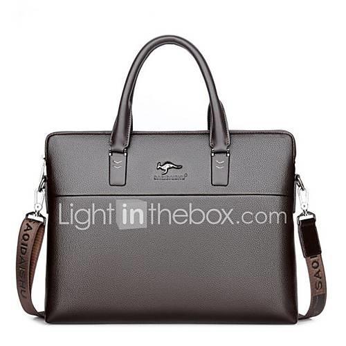 Men's Bags PU(Polyurethane) Briefcase Zipper Black / Brown
