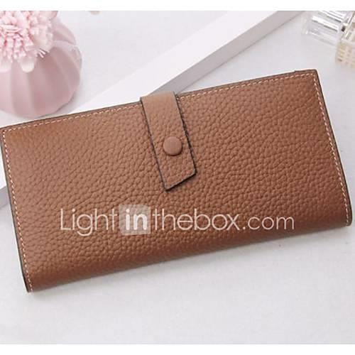 Women's Bags Nappa Leather Wallet Solid Color Black / Blushing Pink / Brown