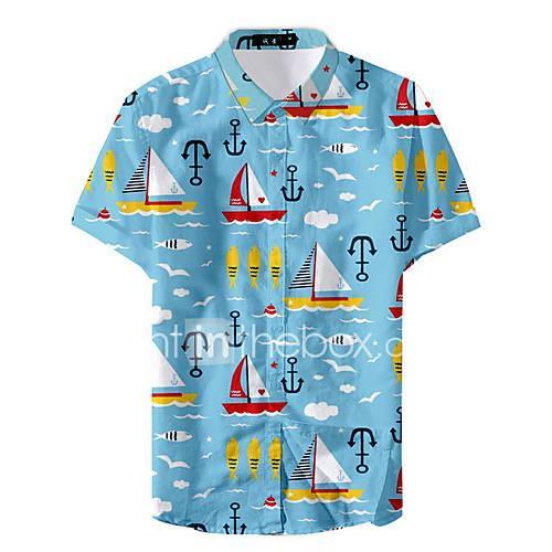 Men's Shirt - Geometric Navy Blue XL