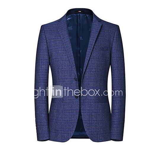 Men's Blazer Notch Lapel Polyester Blue XL / XXL / XXXL