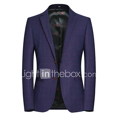 Men's Blazer Notch Lapel Polyester Purple XL / XXL / XXXL