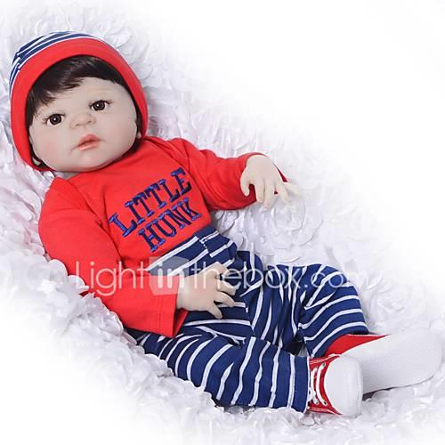 FeelWind Reborn Doll Baby Boy Baby Girl 22 inch Full Body Silicone Silicone - Kids / Teen Adorable Lovely Kid's Unisex Toy Gift