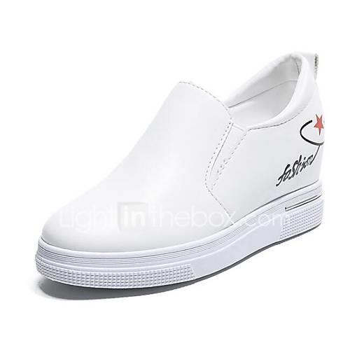 Women's PU(Polyurethane) Spring   Fall Loafers  Slip-Ons Hidden Heel White / Black