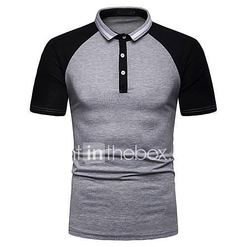 Men's Polo - Color Block Patchwork Dark Gray L
